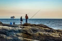Beavertail Fishermen and Cruise Ship